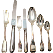 Georgian Sterling Silver Fiddleback Flatware Set