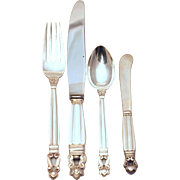 Georg Jensen Sterling Silver Acorn Flatware Set - 51 pcs
