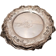 Sterling Silver Six Piece Set of Plates Rocaille Style