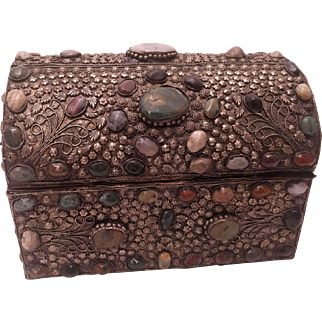Silver Treasure Chest With Semi Precious Stones