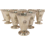 Twelve Silver Martini Cups in Art & Crafts Style by Le Bolt