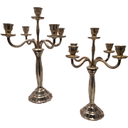 German Silver Candelabra Five Light Jugendstill