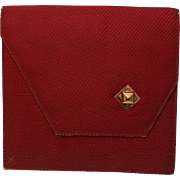 Red Asymmetrical Clutch with 18k Gold Locket