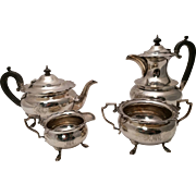 English Silver Tea & Coffee Set Four Piece With Ebony