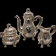 German Silver Three Piece Tea Set