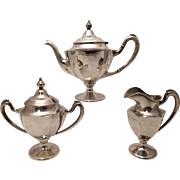 Woodward & Loothrop Silver Tea Set Three Piece