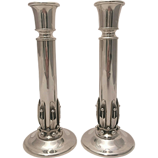 Pair of Sterling Silver Candlesticks Pea in the Pod Style