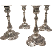 Set of Four Silver German Candlesticks
