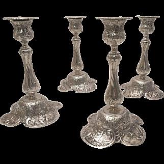 Set of Four Silver German Candlesticks