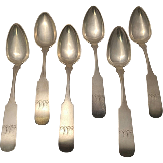 Set of Six American Coin Silver Tablespoons of Southern Interest