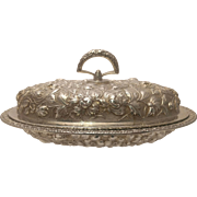 Stieff Sterling Silver Repousse Pattern Covered Vegetable Dish