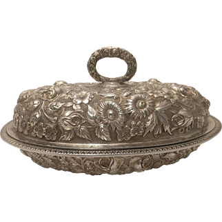 Schultz Sterling Silver Hand Chased Repousse Pattern Covered Vegetable Tureen
