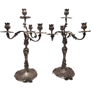 Pair of  Dutch  Silver Four Light Candleabra