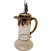 English Victorian Gilt Sterling Silver Mounted Etched Glass Claret Jug