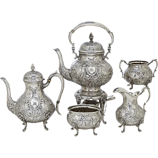 German Sterling Silver Renaissance Style Five Piece Tea and Coffee Service