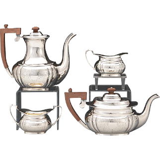 Four Piece Sterling Silver Tea Service by Charles S Green & Co, Birmingham, 1955