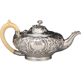Chased Sterling Silver Teapot, dated 1850
