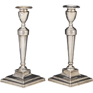 Pair of George III Sterling Silver Candlesticks, Sheffield, ca. 1785