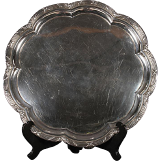 English Sterling Silver Footed Salver Having Scalloped Edge by Martin, Hall & Co