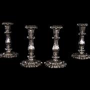 Set of 4 English Sterling Silver Candlesticks, Circa 1843