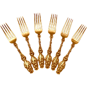 Lily Pattern Whiting Luncheon Forks Patent 1902 Sterling Silver