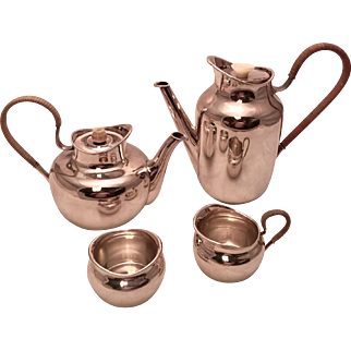 Jensen Style Sterling Silver Tea/Coffee Set By Erik Herlow, A. Michelsen