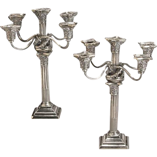 Pair of Gorham Neoclassical Style Sterling Five-Light Candelabra