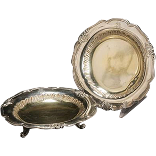 Pair of French Rococo Style Parcel Silver Gilt Footed Dishes