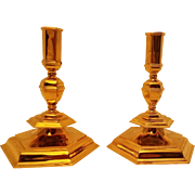 Pair of Bulgari Gilt Sterling Silver Candlesticks