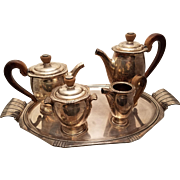 Silver Four Piece Tea Set French Art Deco