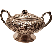 Peter Krider Silver Repoussé Fine Hand Chased Sugar Bowl
