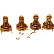 Fine Gilt English Silver Set of 10 Salt and Pepper Condiments