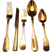 Russian Gilt Silver Fully Hallmarked Flatware Set