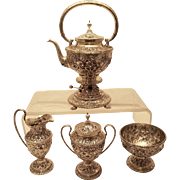 Kirk & Sons Repousse Sterling Silver Tea Service