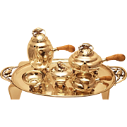 Georg Jensen Sterling Five Piece Tea Set with Tray