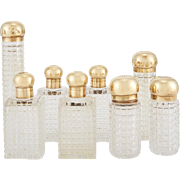 Asprey 18K Gilt and Glass Perfume Bottles Set of Set of Eight