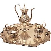 Barbour Sterling Three Piece Tea Set With Tray