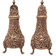 S. Kirk & Son Sterling Salt & Pepper Shakers Repousse With Finial