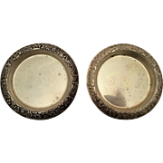 S. Kirk & Son Sterling Pair of Coasters Repousse #24