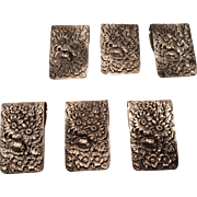 Set of 6 Sterling Repousse Napkin Clips