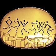 Vintage Judaic Brooch / Pendant Gilt Metal Meah Shanim