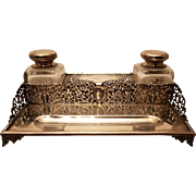English Sterling Silver Table Top Double Inkwell
