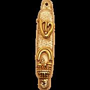 Vintage Sterling Judaic Mezuza Hand Made In Jerusalem Theme