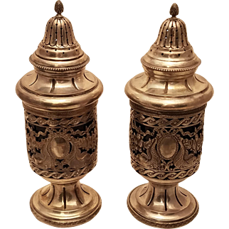 Silver And Glass Muffineer Shakers