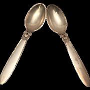 Georg Jensen Pair of Cactus Pattern Table Spoons