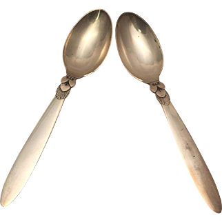 Georg Jensen Pair of Cactus Pattern Table Spoons