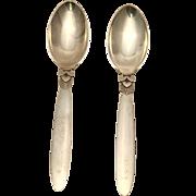 Georg Jensen Pair of Cactus European Dessert Spoons