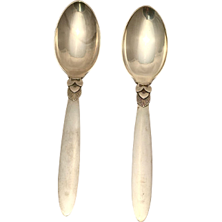 Georg Jensen Pair of Cactus European Dessert Spoons