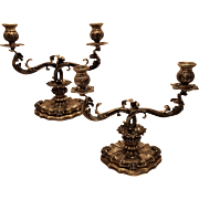 Pair of Italian silver candelabra in Buccellati style barouqe