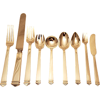 110 Pc. Sterling Silver Tiffany & Co. Flatware Set Hampton Pattern ART DECO